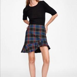 Zara Asymmetric Plaid Mini Skirt Size S